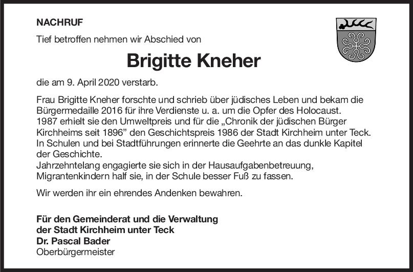 Nachruf Brigitte Kneher <br><p style=
