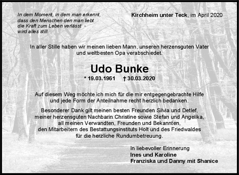 Trauer Udo Bunke <br><p style=