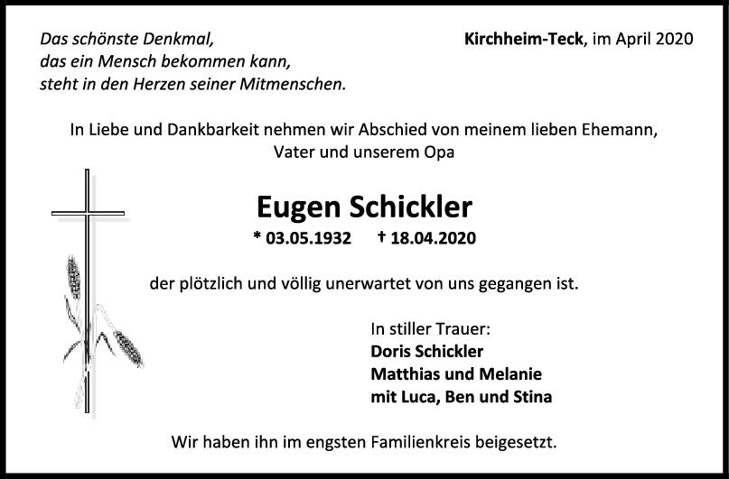 "Trauer Eugen Schickler <br><p style=""font-size: 10px; text-align: center;"">25/04/2020</p>"