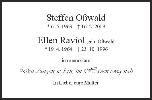 Nachruf Steffen Oßwald & Ellen Raviol <br><p style=