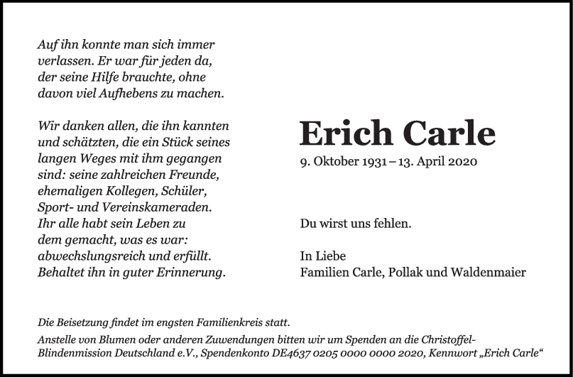 Trauer Erich Carle <br><p style=