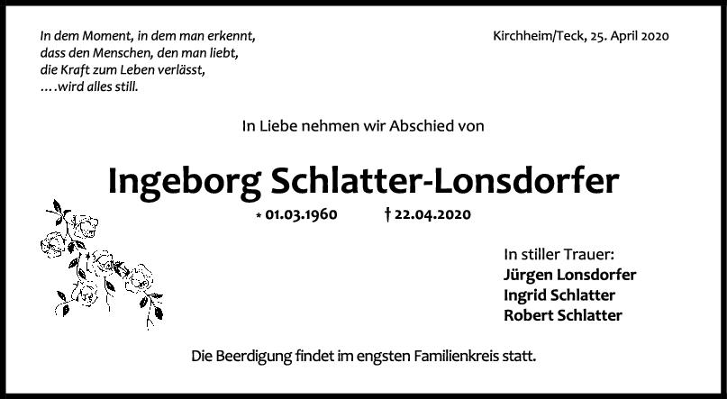 "Trauer Ingeborg Schlatter-Lonsdorfer <br><p style=""font-size: 10px; text-align: center;"">25/04/2020</p>"