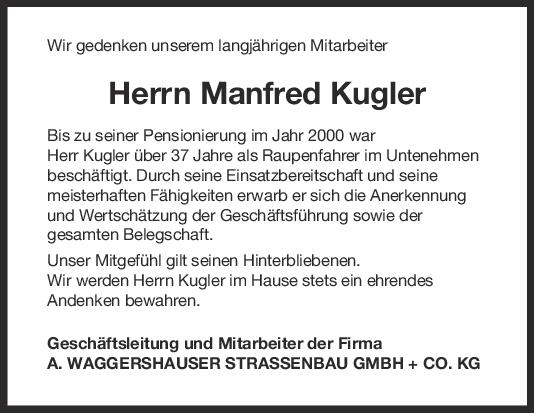 Nachruf Manfred Kugler <br><p style=