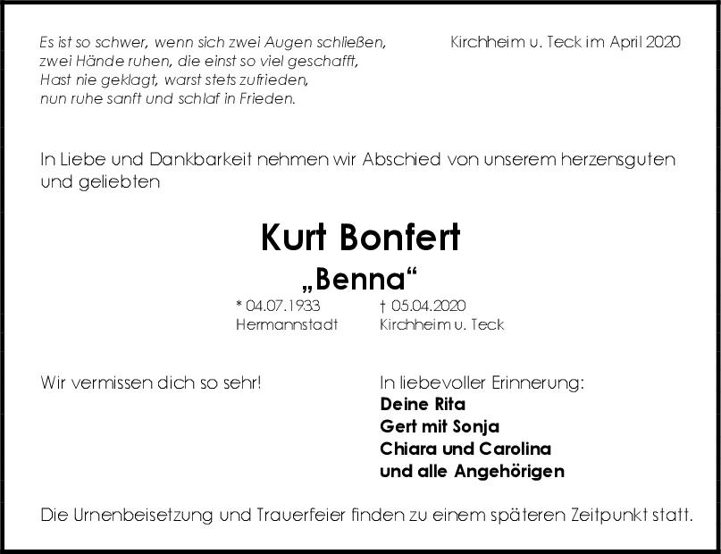 Trauer Kurt Bonfert <br><p style=