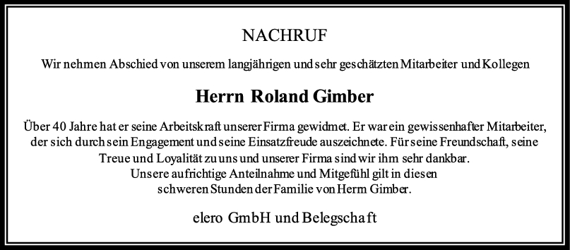 Nachruf Roland Gimber <br><p style=