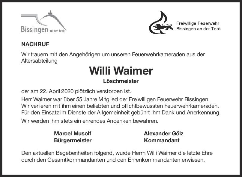 Nachruf Feuerwehrmann Hans Willi Waimer <br><p style=