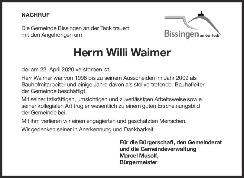 Nachruf Hans Willi Waimer <br><p style=