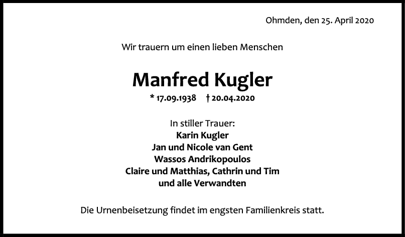 "Trauer Manfred Kugler <br><p style=""font-size: 10px; text-align: center;"">25/04/2020</p>"