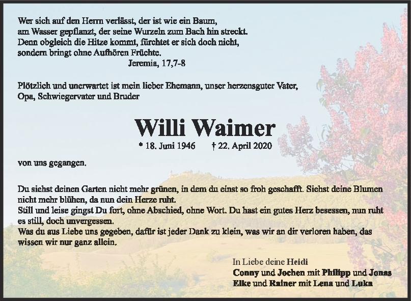 Trauer Willi Waimer <br><p style=
