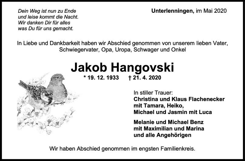 Trauer Jakob Hangovski <br><p style=