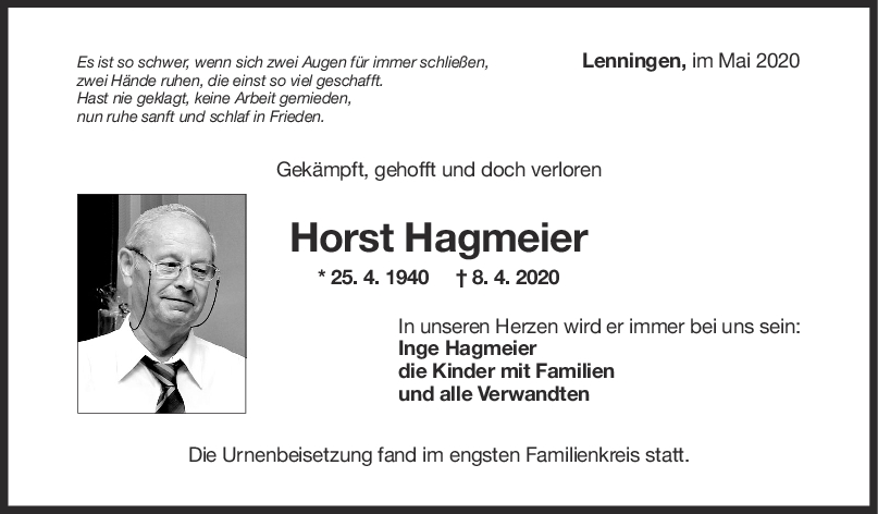 """Trauer Horst Hagmeier <br><p style=""""font-size: 10px; text-align: center;"""">09/05/2020</p>"""