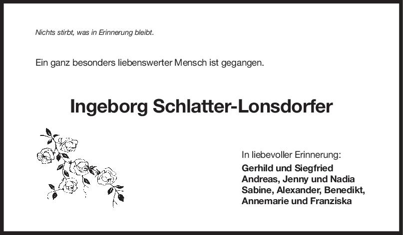 "Trauer Ingeborg Schlatter-Lonsdorfer <br><p style=""font-size: 10px; text-align: center;"">28/04/2020</p>"