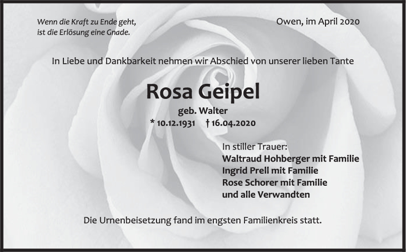 """Trauer Rosa Geipel <br><p style=""""font-size: 10px; text-align: center;"""">09/05/2020</p>"""