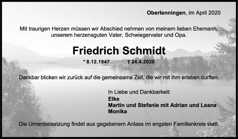 Trauer Friedrich Schmidt <br><p style=