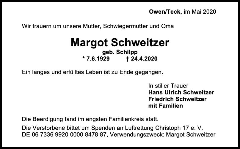 Trauer Margot Schweitzer <br><p style=