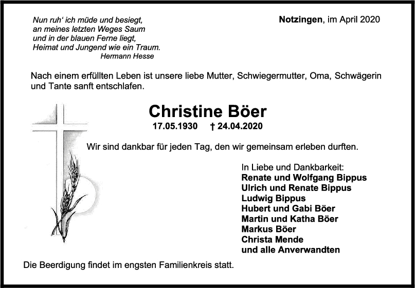 """Trauer Christine Böer <br><p style=""""font-size: 10px; text-align: center;"""">28/04/2020</p>"""