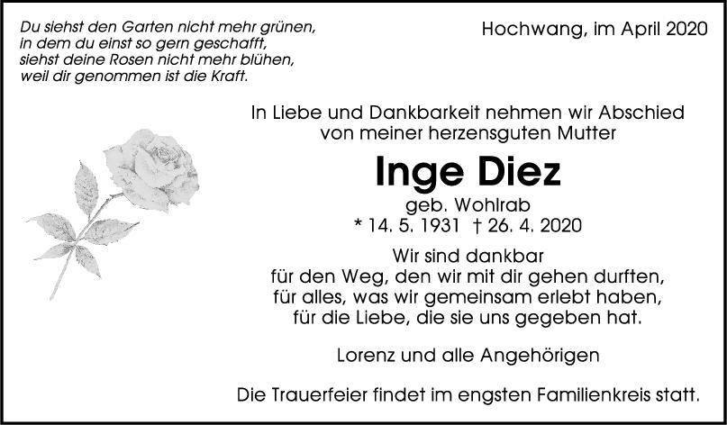 "Trauer Inge Diez <br><p style=""font-size: 10px; text-align: center;"">29/04/2020</p>"