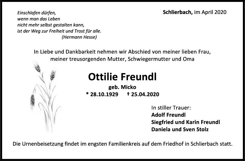 """Trauer Ottilie Freundl <br><p style=""""font-size: 10px; text-align: center;"""">30/04/2020</p>"""