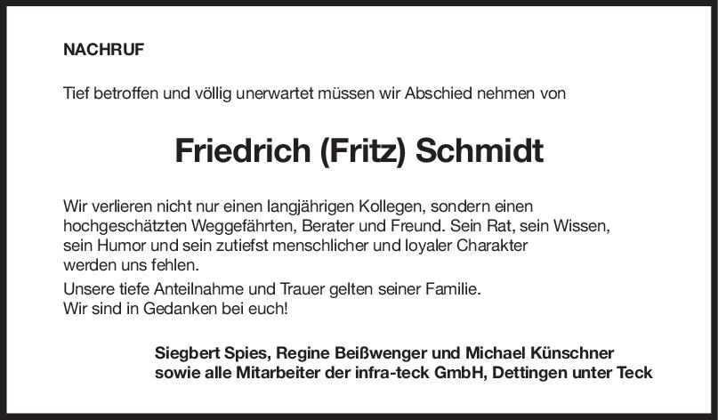 Nachruf Friedrich (Fritz) Schmidt <br><p style=
