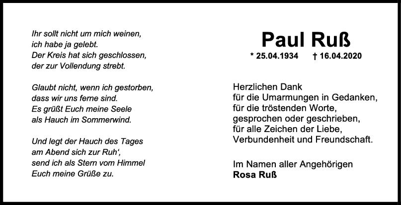 """Danksagung Paul Ruß <br><p style=""""font-size: 10px; text-align: center;"""">30/04/2020</p>"""