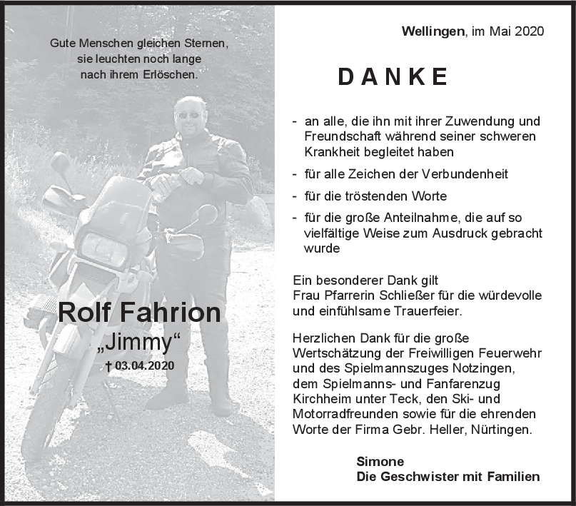 Danksagung Rolf Fahrion <br><p style=