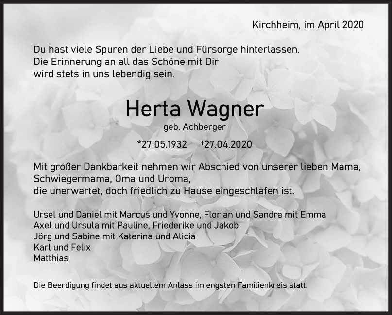 """Trauer Herta Wagner <br><p style=""""font-size: 10px; text-align: center;"""">02/05/2020</p>"""