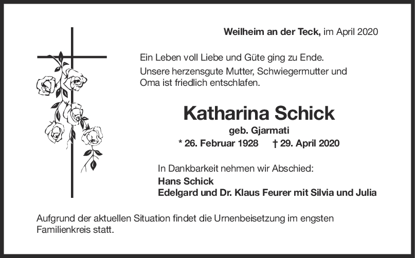 """Trauert Katharina Schick <br><p style=""""font-size: 10px; text-align: center;"""">05/05/2020</p>"""