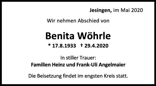 Trauer Benita Wöhrle <br><p style=