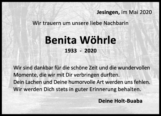 Nachruf Benita Wöhrle <br><p style=