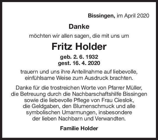 Danksagung Fritz Holder <br><p style=