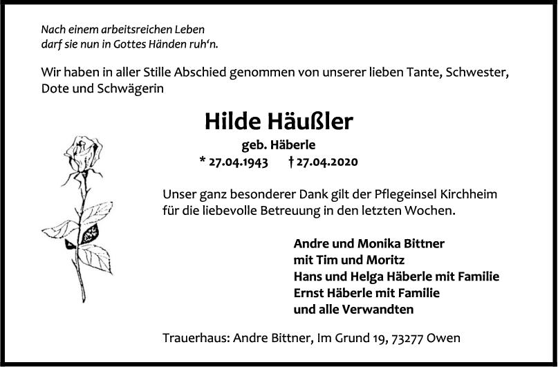 Trauer Hilde Häußler <br><p style=