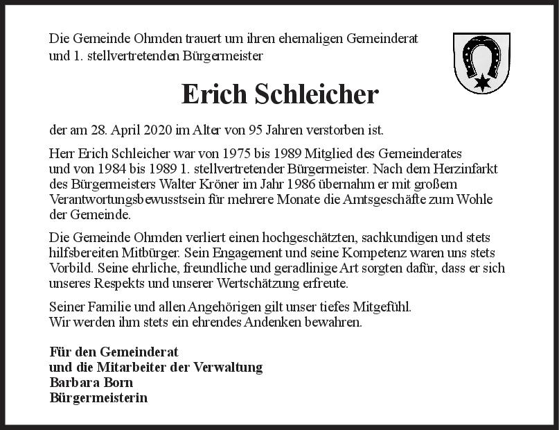 Nachruf Erich Schleicher <br><p style=