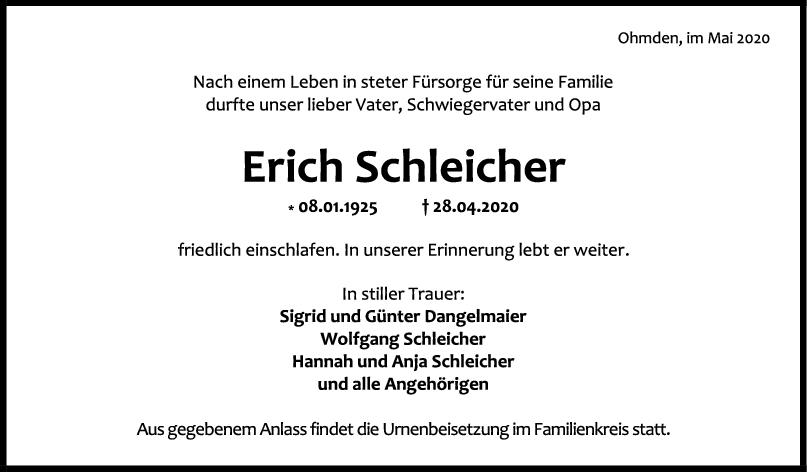 Trauer Erich Schleicher <br><p style=