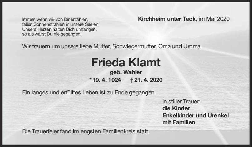 "Trauer Frieda Klamt <br><p style=""font-size: 10px; text-align: center;"">09/05/2020</p>"