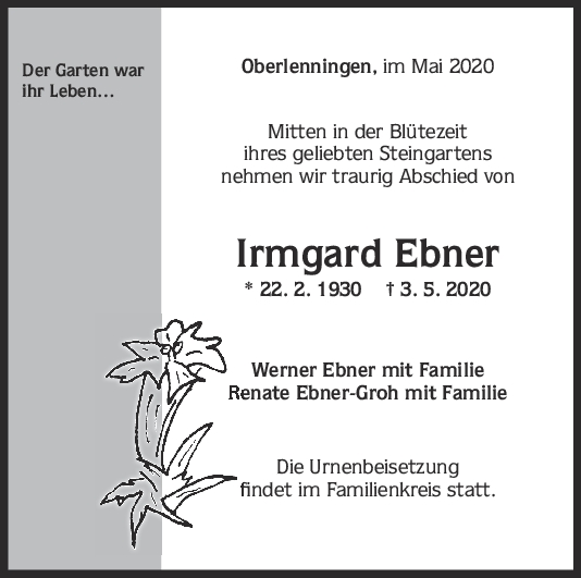 Trauer Irmgard Ebner <br><p style=
