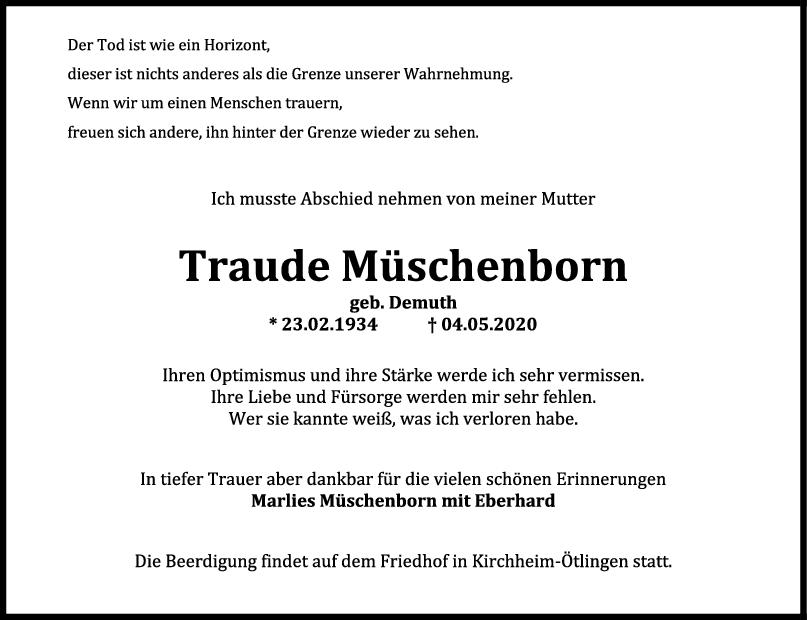 Trauer Traude Müschenborn <br><p style=