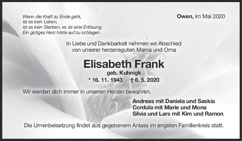 Trauer Elisabeth Frank <br><p style=