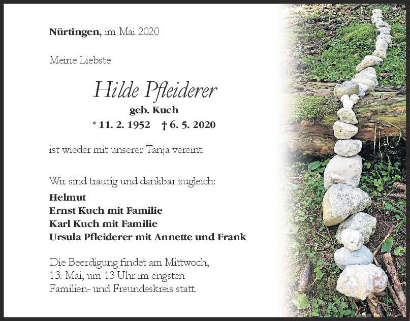 """Trauer Hilde Pfleiderer <br><p style=""""font-size: 10px; text-align: center;"""">09/05/2020</p>"""
