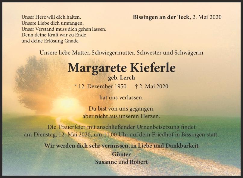 Trauer Margarete Kieferle <br><p style=