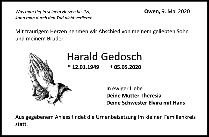 Trauer Harald Gedosch <br><p style=
