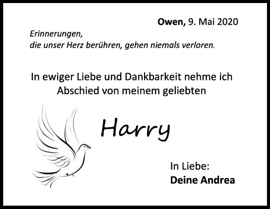 "Trauer Harry Gedosch <br><p style=""font-size: 10px; text-align: center;"">09/05/2020</p>"