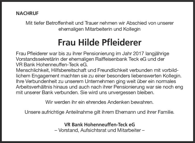 "Nachruf Hilde Pfleiderer <br><p style=""font-size: 10px; text-align: center;"">09/05/2020</p>"