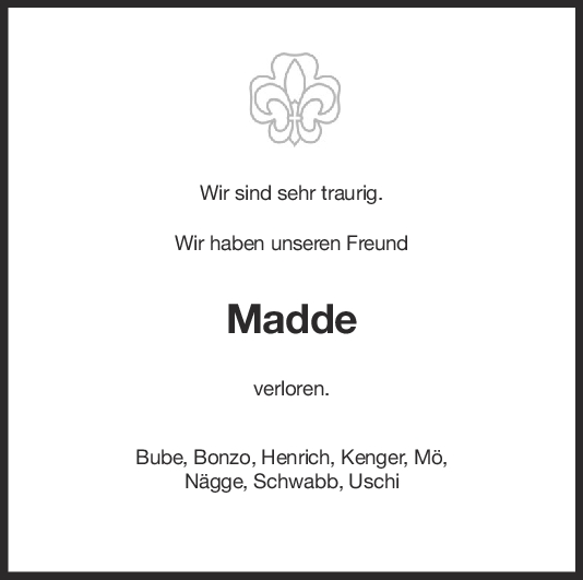 Trauer Madde <br><p style=