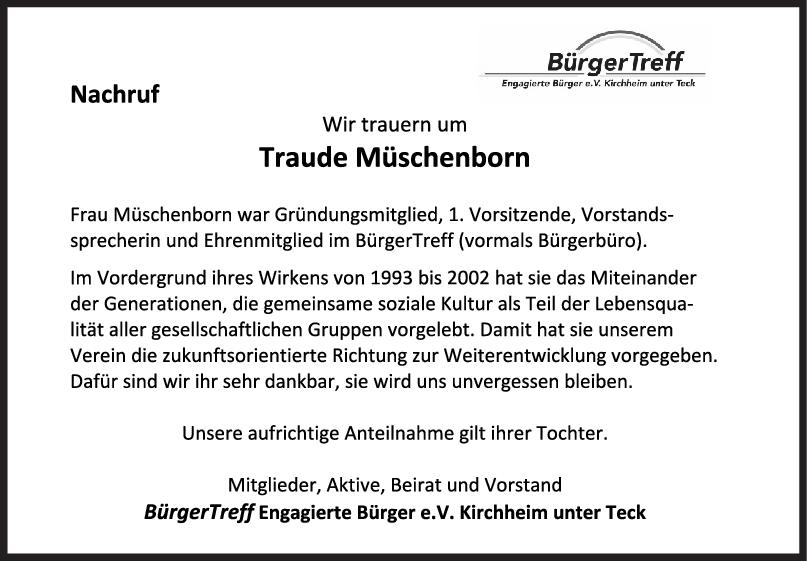 Nachruf Traude Müschenborn <br><p style=