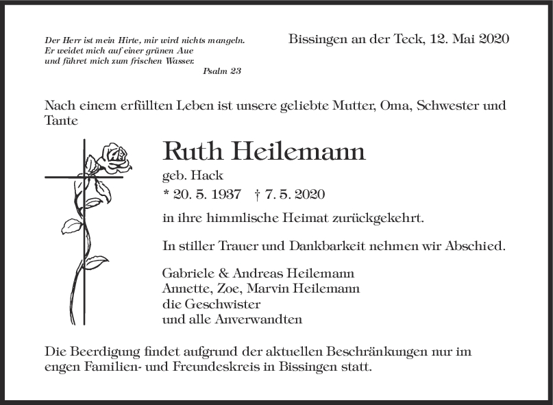 Trauer Ruth Heilemann <br><p style=