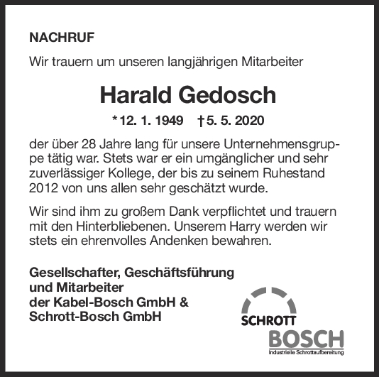 """Nachruf Harald Gedosch <br><p style=""""font-size: 10px; text-align: center;"""">12/05/2020</p>"""