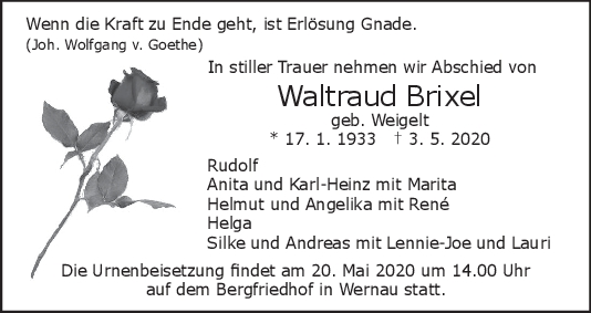 """Trauer Waltraud Brixel <br><p style=""""font-size: 10px; text-align: center;"""">15/05/2020</p>"""