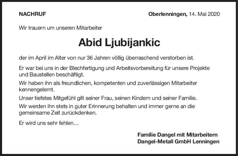 Nachruf Abid Ljubijankic <br><p style=