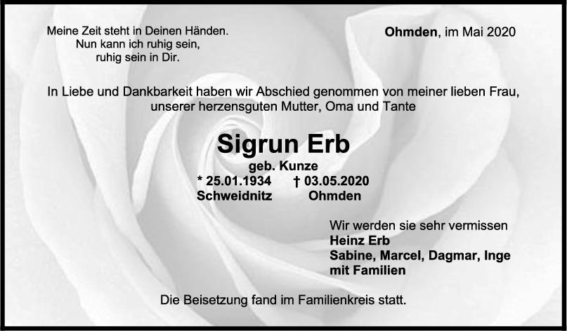 Trauer Sigrun Erb <br><p style=