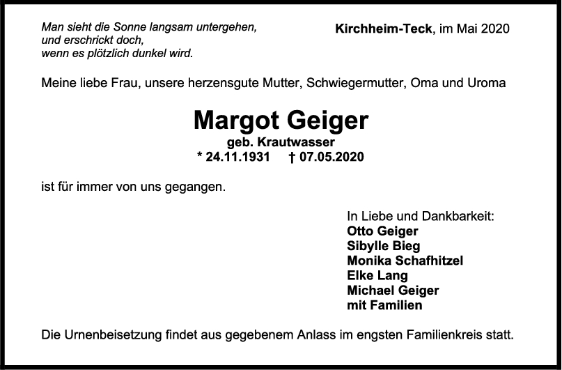 """Trauer Margot Geiger <br><p style=""""font-size: 10px; text-align: center;"""">16/05/2020</p>"""